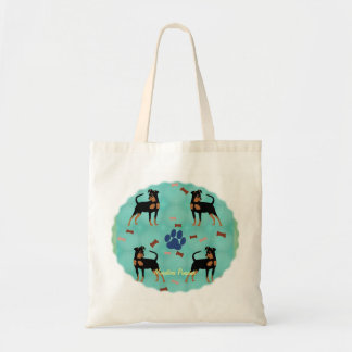 Pinscher diminuto dos desenhos animados bolsas para compras