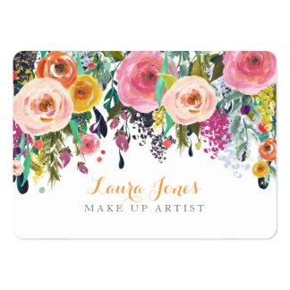 Pintado floral compo cartões da nomeação do cartão de visita grande