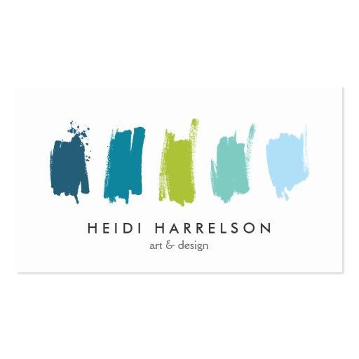 Pinte amostras de folha cartão de visita azul/verd