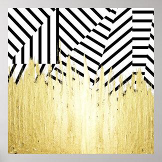 Pinte cursos no ouro do falso na listra preta & pôster