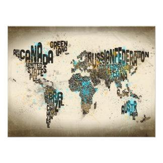 Pinte espirra o mapa de texto do mundo impressão de foto