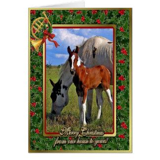 Pinte o cartão de Natal vazio da égua e do potro