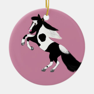 Pinte o cavalo ornamento de cerâmica redondo