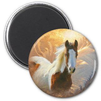 Pinte o ímã do ouro do cavalo ímã redondo 5.08cm