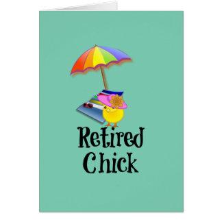 Pintinho aposentado, humor da aposentadoria cartão de nota