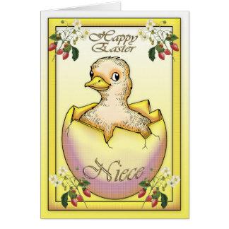 Pintinho do felz pascoa com ovo, para a sobrinha cartão comemorativo