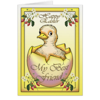 Pintinho do felz pascoa com ovo, para o melhor cartão comemorativo