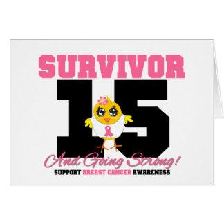 Pintinho do sobrevivente do cancro da mama 15 anos cartao