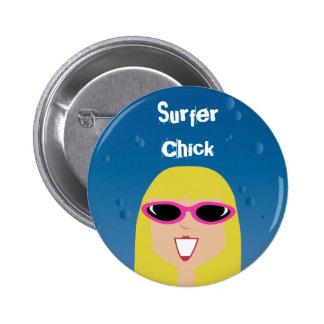 Pintinho do surfista com óculos de sol bóton redondo 5.08cm