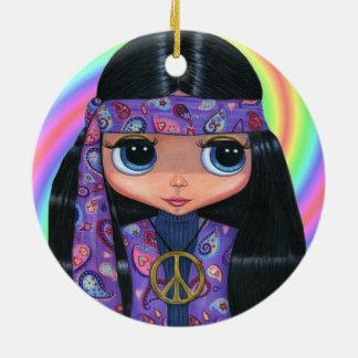 Pintinho Groovy do Hippie no sinal de paz roxo de Ornamento De Cerâmica Redondo