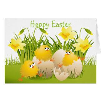 Pintinhos bonitos & Daffodils da páscoa Cartoes