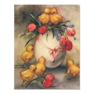 Pintinhos da páscoa do vintage com tulipas convites personalizados