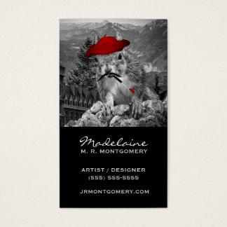 Pintor engraçado do esquilo do artista ou do cartão de visitas