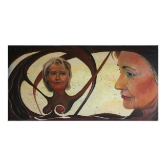 Pintura a óleo de Hillary Clinton pelo impressão