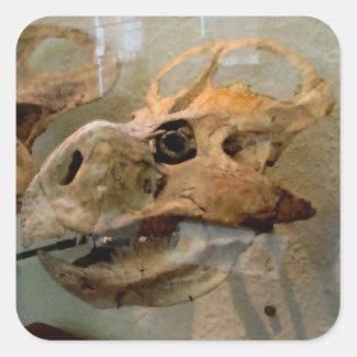 Pintura a óleo do crânio de Dino Adesivo Quadrado