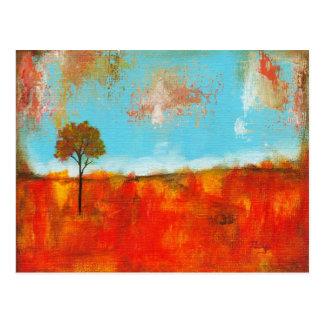 Pintura abstrata da arte da árvore da paisagem do cartão postal