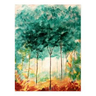 Pintura abstrata da floresta das árvores da arte cartão postal