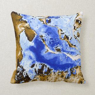 Pintura abstrata da terra & do mar almofada
