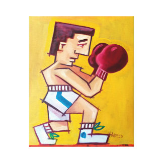 Pintura abstrata do pugilista em canvas