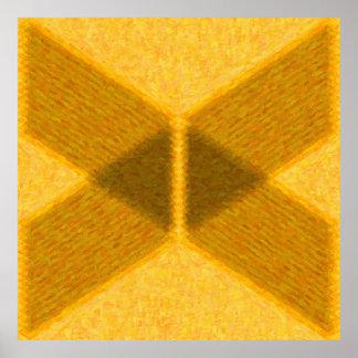Pintura abstrata geométrica em dourado - AB-0061F Pôster