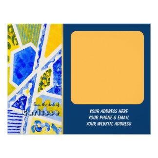 Pintura acrílica do abstrato geométrico do amarelo papel de carta