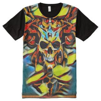 Pintura acrílica do crânio colorido do demónio camiseta com impressão frontal completa