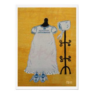 Pintura acrílica do dia do batismo convite 13.97 x 19.05cm