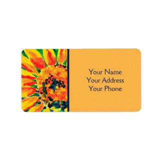 Pintura acrílica do único girassol colorido etiqueta de endereço