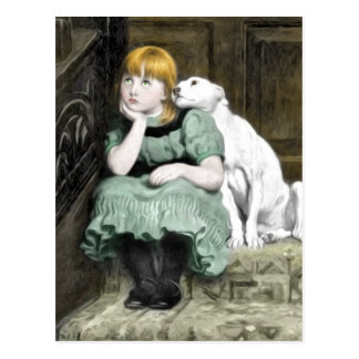 Pintura adorador do Victorian da menina do cão Cartão Postal