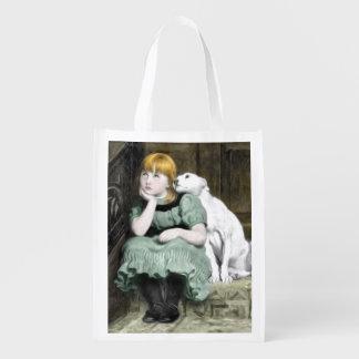 Pintura adorador do Victorian da menina do cão Sacolas Reusáveis