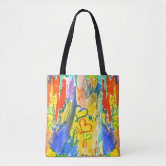 Pintura aleatória colorida dos corações abstratos bolsa tote