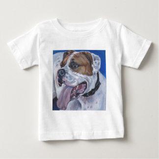 Pintura americana bonita do cão do buldogue camiseta para bebê