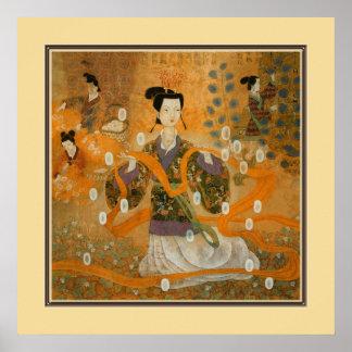 Pintura antiga chinesa, senhoras poster
