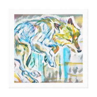 Pintura artística das canvas do lobo