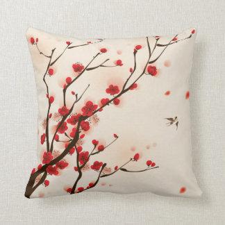 Pintura asiática do estilo, flor da ameixa no almofada