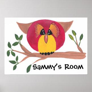 Pintura bonito da coruja Horned Posteres