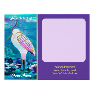 Pintura branca do retrato do pássaro do lago Egret Papel De Carta Personalizados