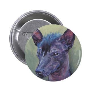 Pintura calva peruana das belas artes do cão bóton redondo 5.08cm