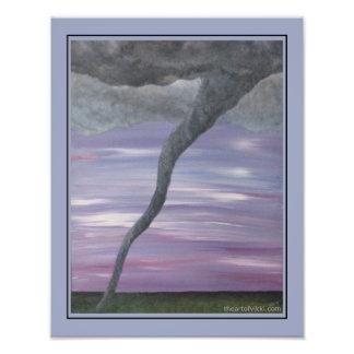 Pintura cinzenta roxa da nuvem do funil do furacão impressão de foto