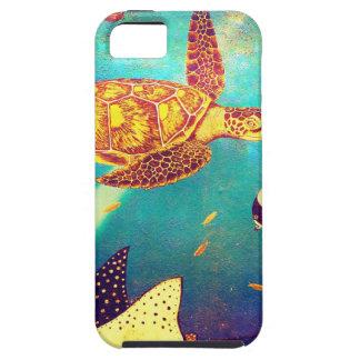 Pintura colorida da tartaruga de mar do oceano capa tough para iPhone 5