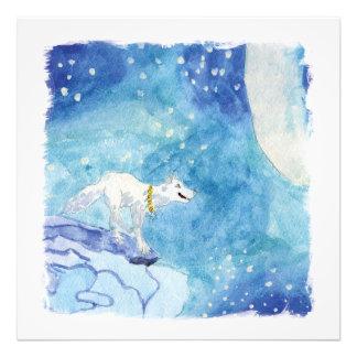 Pintura criançola da aguarela com lobo nevado foto