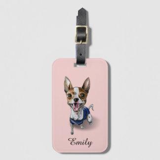 Pintura customizável da aguarela do cão de Terrier Etiqueta De Bagagem