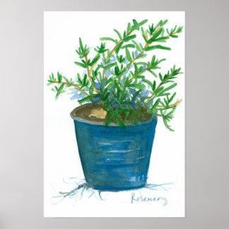 Pintura da aguarela da planta da erva da cozinha poster