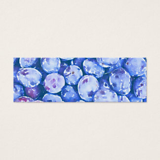 Pintura da aguarela de ameixas azuis cartão de visitas mini
