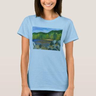 Pintura da aguarela do lago mountain das árvores camiseta