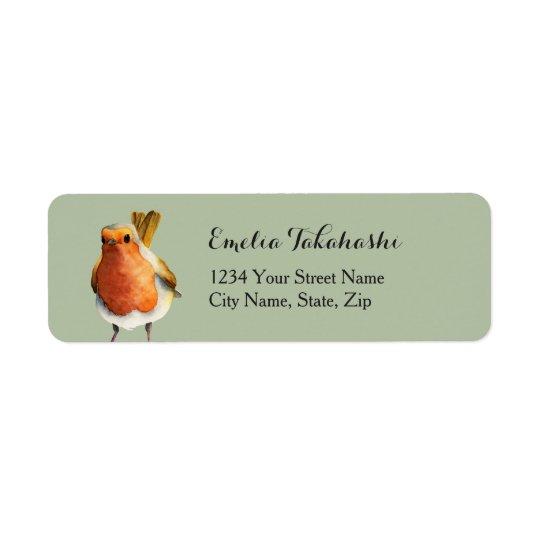Pintura da aguarela do pássaro do pisco de peito etiqueta endereço de retorno