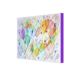 Pintura da arte da pintura das canvas dos corações impressão de canvas envolvida