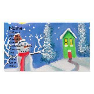 Pintura da arte popular da cena do inverno do bone cartões de visitas