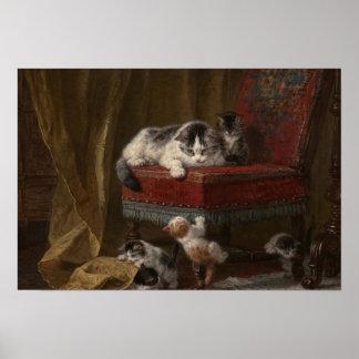 Pintura da família de gatos pôster