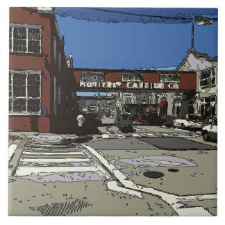 Pintura da fileira da fábrica de conservas da baía azulejos